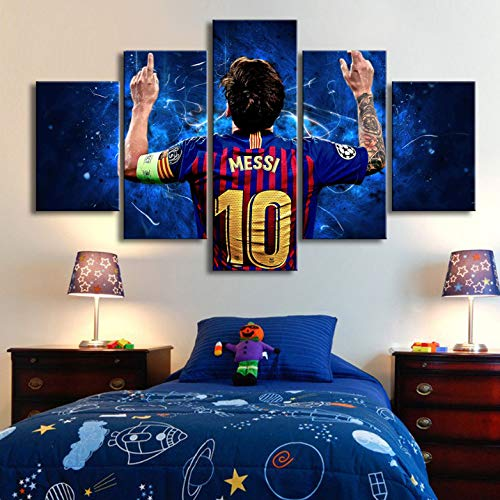 Rjbzd 5 Stück Fc Barcelona Leinwand Gedruckt Malerei Für Wohnzimmer Bild Wandkunst Hd Print Decor Moderne Kunstwerke Fußball Poster