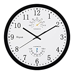 #Clocks Battery Operated Silent Non-Ticking Indoor Wall Clock with Temperature & Humidity,Glass Cover,Silver Color Silent Wall Clock (Color : F)