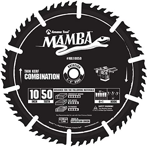 discount Amana Tool MA10050 Carbide Tipped Thin Kerf 2021 Combination Mamba Contractor Series 10 Inch D x 50T, 4+1, 15 online sale Deg, 5/8 Bore Circular Saw Blade outlet sale