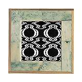 Creative Co-op Bone & MDF Bamboo Edge, Marbled Aqua (Holds 3' x 3' Photo) Frame