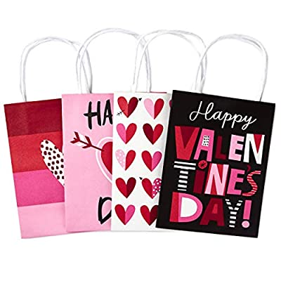 """Hallmark 7"""" Small Valentine's Day Paper Gift Bags Assortment (Pack of 4: Pink and Red Hearts) for Kids, Treats, Galentines Day"""