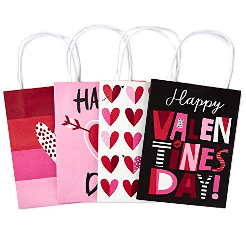 Hallmark 7' Small Valentine's Day Paper Gift Bags Assortment (Pack of 4: Pink and Red Hearts) for Kids, Treats, Galentines Day