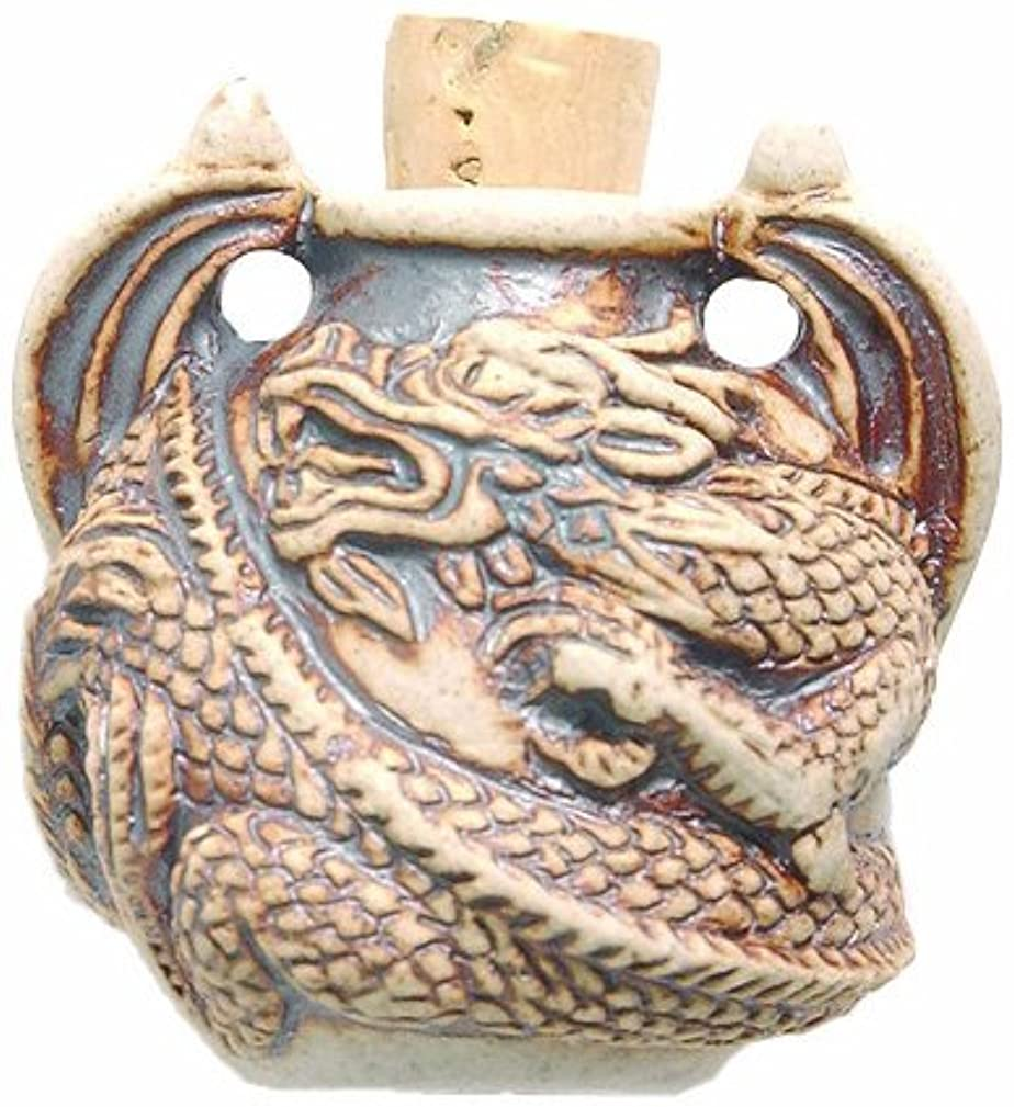 Shipwreck Beads Peruvian Hand Crafted Ceramic High Fired Dragon Bottle Pendant, 36 by 37mm