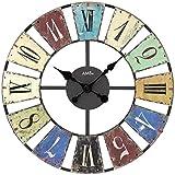 AMS - Quarzuhr - Wanduhr - Metallgehäuse bunt bedruckt - arabische Zahlen - römische Ziffern