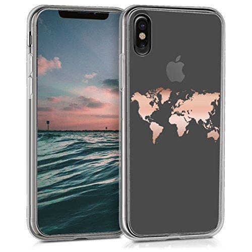 kwmobile Funda para Apple iPhone X - Carcasa Protectora de TPU con diseño de Mapa del Mundo en Oro Rosa/Transparente