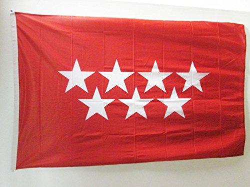 AZ FLAG Bandera de la Comunidad DE Madrid 150x90cm Uso Exterior - Bandera MADRILEÑA 90 x 150 cm Ojales