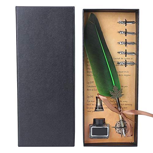 Penna piuma Quill Pen Set- stilografica vintage con penna a per calligrafia inchiostro Decorazioni la casa confezione regalo Inchiostro Nero bottiglia e Scatola Regalo(verde)