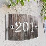 Numeros casa Exterior Signo de número Personalizado del Grano de Madera Moderna Puerta de la casa de la Calle La Placa de acrílico Mate de Cristal (Color : Layout 3)