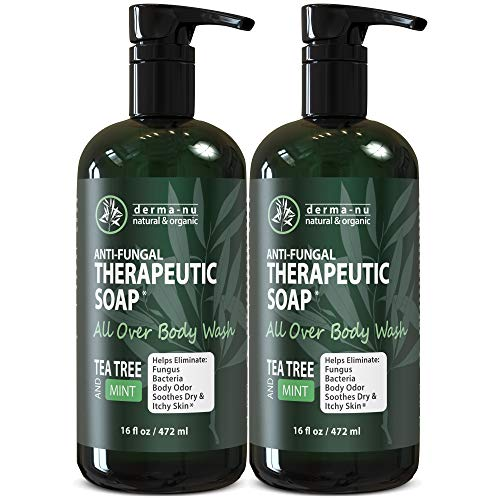 Antifungal Antibacterial Soap & Body Wash - Natural Fungal Treatment with Tea Tree Oil for Jock Itch, Athletes Foot, Body Odor, Nail Fungus, Ringworm, Eczema & Back Acne - For Men & Women - 2 Pack