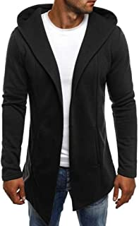 Mens Hooded Splicing Solid Trench Cardigan Coat Long Sleeve Jacket Outwear Hoodie with Pockets