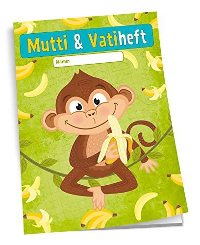 Trötsch Mutti und Vatiheft Affe: A6, 48 Seiten liniert mit Klarsichtumschlag