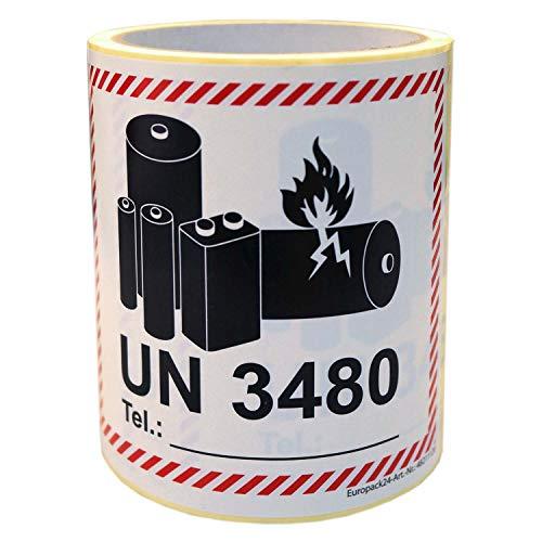 Gefahrgutetiketten auf Rolle'UN 3480' 110x120mm 100 Blatt für Versand Li-Ionen-Akku ohne Gerät