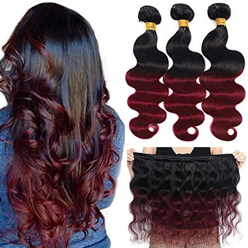Kapelli Hair 10A Ombre Brazilian Hair Body Wave (T1B/99J,14' 16' 18') Ombre Human Hair 3 Bundles Ombre Brazilian Human Hair 100% Unprocessed Virgin Remy Hair Bundles 2 Tone Black to Burgundy Human Hair Weave