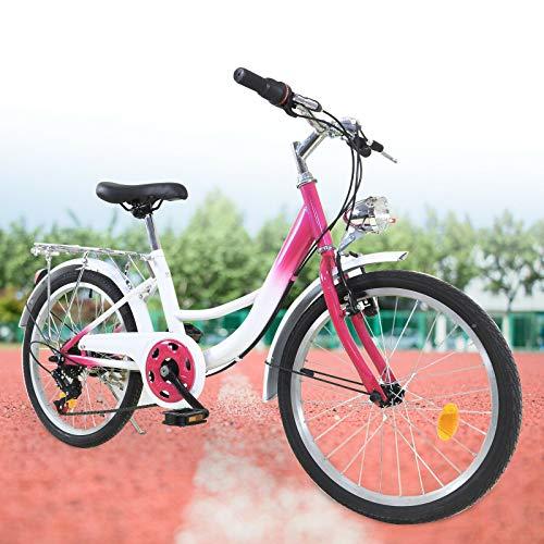 Fetcoi Bicicleta infantil de 6 velocidades, marco de acero al carbono, portátil, para niños de 12 a 16 años, color rosa