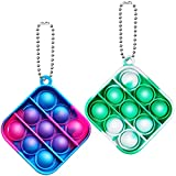 AFLUODN 2 Pack Simple Dimple Fidget Popper Mini Fidget Toys with Keychain Pop Fidgets Toy for Adults Kids Stress Relief Decompression Silicone Sensory Toy