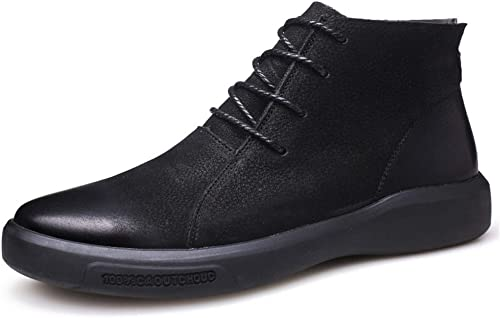 XHD-Chaussures Bottines à la Mode pour Hommes Hommes Décontracté Décontracté Youth Classique Britannique de Style Britannique à Talon Haut et à Talon Plat Chaussures de Loisirs (Couleur   Noir, Taille   41 EU)  expédition rapide à vous