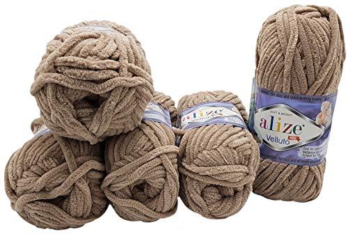 5 x 100 Gramm Alize Velluto Strickwolle, Babywolle , 500 Gramm Wolle Super soft Bulky (beige 530)