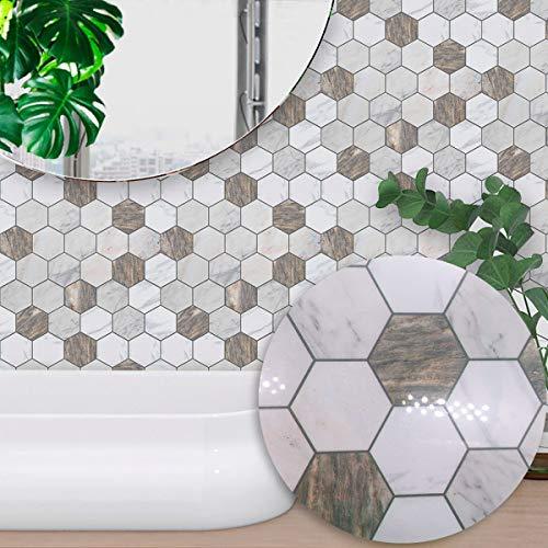 Lianlili 10 unids PVC Impermeable Autoadhesivo Autoadhesivo Creativo decoración del hogar marrón Blanco mármol patrón de azulejo Etiqueta de la Pared Pegatinas de Pared (Color : 15x15CM)