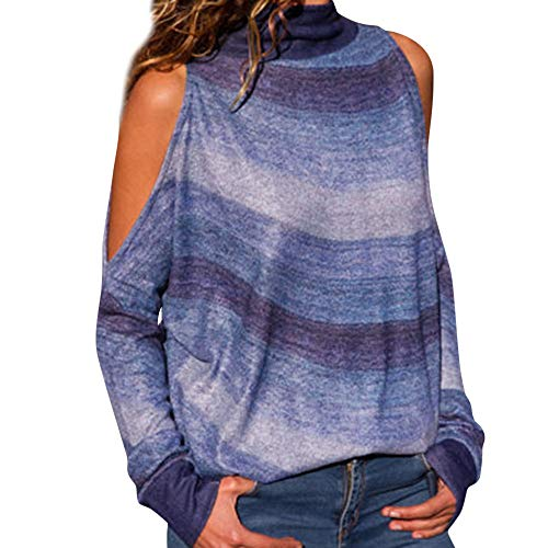 TWIFER Damen Mode Kalte Schulter Bluse Geometrischer Blumendruck Off Shoulder Jumper