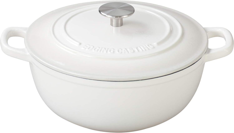 Enameled Cast Iron Dutch Oven, EDGING CASTING 3.5 Quart Enameled Dutch Oven Pot, Suitable For Variety Stovetops, White