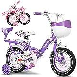 Bospyaf - Bicicleta plegable para niños y niñas, 12 pulgadas, 16 pulgadas, 18 pulgadas, 20 pulgadas, con modelo de asiento trasero, color morado, tamaño 12 inches