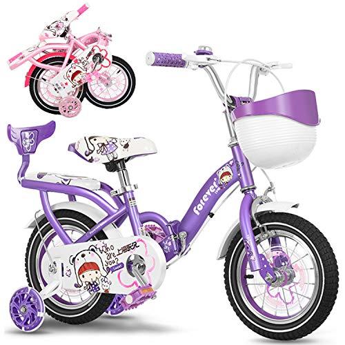 Bospyaf Bicicleta plegable para niños y niñas adultos, 12 pulgadas, 14 pulgadas, 16 pulgadas, 18 pulgadas y 20 pulgadas (modelo con asiento trasero), color lila