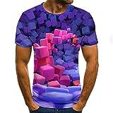Manga Corta Impresa En 3D,Camisa Hawaiana Estampada con Cuadros De Colores En 3D De Verano para Hombre, Camisetas Casuales De Manga Corta, Trajes para Las Vacaciones, con Botones, Ropa Hawaii Aloha,