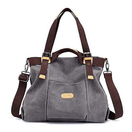 WeyTy Canvas Handtasche, Casual Geldbörse Tote Bag Top Griff Handtaschen Crossbody Taschen für Frauen, Braun