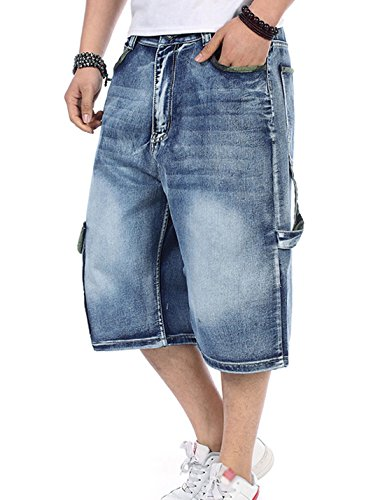 Yeokou Men's Loose Hip Hop Cropped Jeans Work Denim Shorts with Cargo Pockets (40, Style11 Light Blue 001)