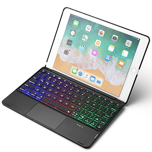 Compatível com iPad 8 iPad 7 iPad Air 3 iPad Pro 10.5 case teclado touchpad , teclado retroiluminado de 7 cores com touchpad, iPad 10,2 polegadas 10,5 polegadas teclado sensível ao toque capa ( iPad8/iPad7/Air3/Pro10.5, Preto)