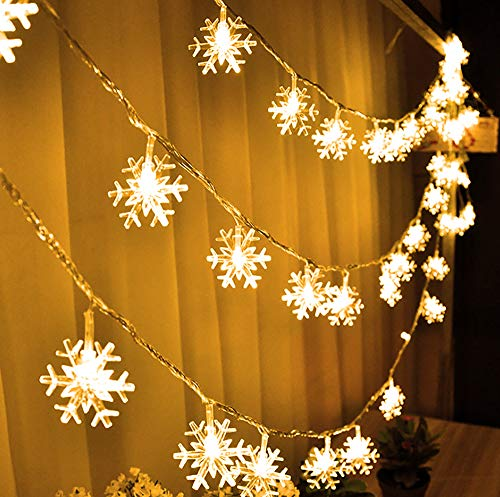 FUNPENY 80 LED Christmas Snowflake String Lights, 32ft Snow Decorative Light with 8 Modes, Battery Operated Christmas Fairy Light for Xmas Party Decor Indoor Outdoor (Warm White)
