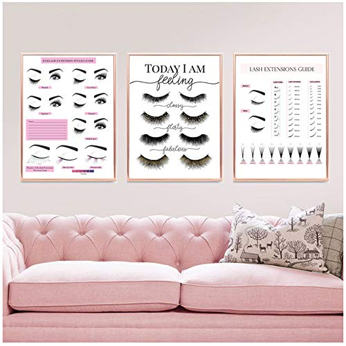 """zxianc Canvas Print Makeup Wall Art Eyelash Extension Style Guide Posters and Prints Eyelash Technician Business Form Canvas Painting Decor Picture 23.6""""x 35.4""""(60x90cm) x3 No Frame"""
