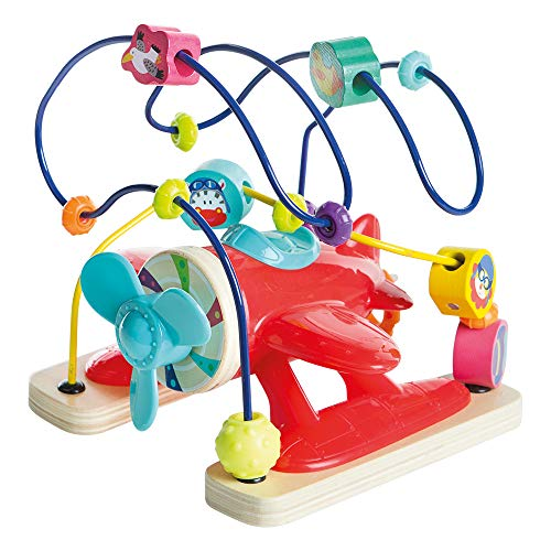 WOOMAX- Wooden airplane with activities (ColorBaby 46248)