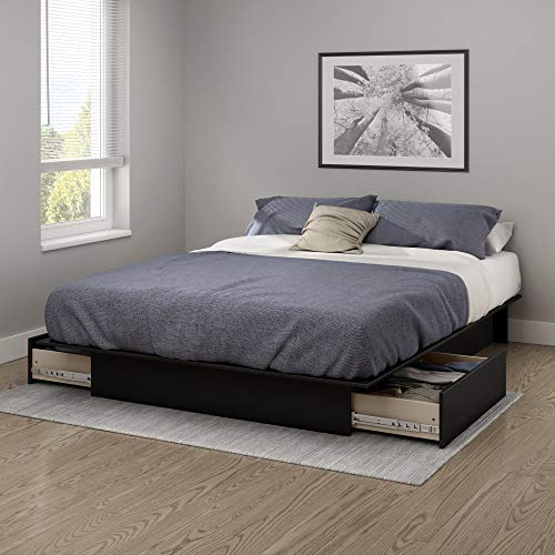South Shore Gramercy Full/Queen Platform Bed (54/60'') with Drawers, Pure Black