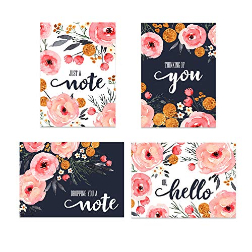 Watercolor Blush and Pink Floral Cards Greeting Card / 24 All Occasions Cards with Envelopes / 4 7/8' x 3 1/2' Floral Cards