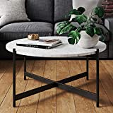 Nathan James Piper Faux Marble Round Modern Living Room Coffee Table with Brass Metal Frame, Black