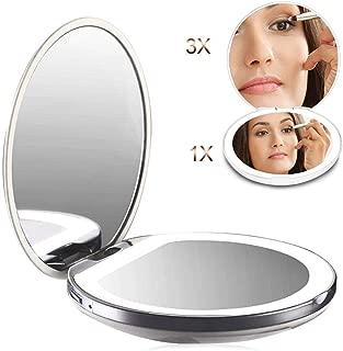 Grand Miroir /à Main Pliant Double Face HD Miroir Cosm/étique /Éclair/é Auxmir Miroir de Poche Miroir Grossissant Lumineux x10 et x1 Miroir Compact et Portable pour Voyage Noir