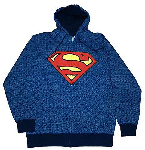 Changes DC Comics Superman Logo Repeat Zip Avant à Capuche pour Homme - Bleu - L