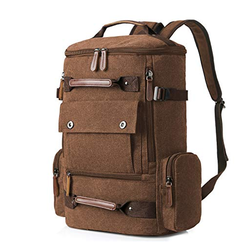 Travel Bags for Men, Yousu Travel Duffel Canvas Backpack Bag Casual Vintage Daypack Rucksack Coffee