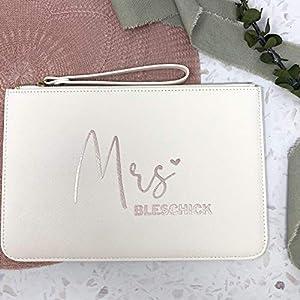 Handtasche Brauttasche Clutch – personalisiert weiß mit Wunschtext – auch schön für die Trauzeugin