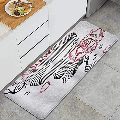 PANILUR Küchenfußmatten Küche Bodenmatte Komfort,Tattoo Bleistiftzeichnung Romantische Sanduhr Symbol der ewigen Liebe mit Rosen Musik,rutschfeste Küche Teppiche Indoor Outdoor