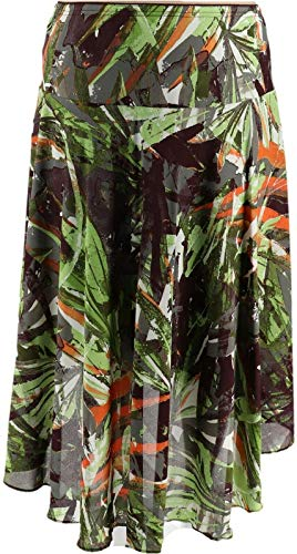 Bob Mackie Jungle Print Woven Hi-Low Midi Skirt Olive Multi XS New A352101