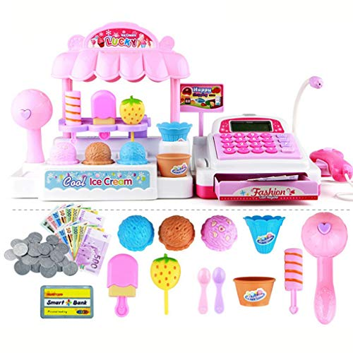 Floridivy Plastic Kinderen Kassa Kids Educatief speelgoed Simulatie supermarkt Ice Cream Shop Girl Toys Set