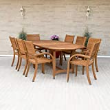 Amazonia Arizona 9-Piece Patio Rectangular Extendable Dining Table Set | Eucalyptus Wood | Ideal for Outdoors and Indoors