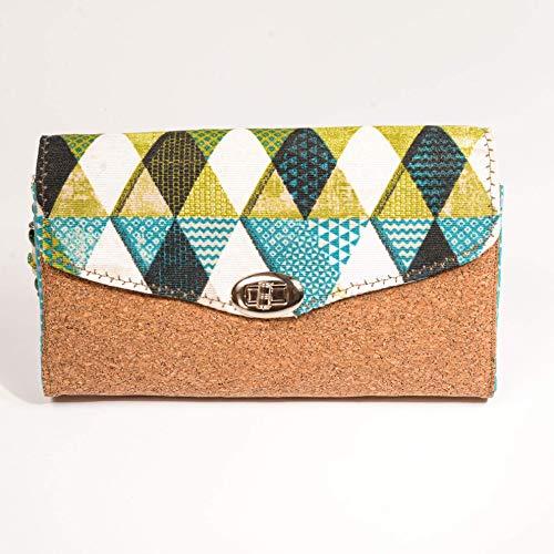 Geldbörse, Portemonnaie, Geldbeutel. Grafische Muster mit Kork kombiniert. In liebevoller Handarbeit gefertigt.