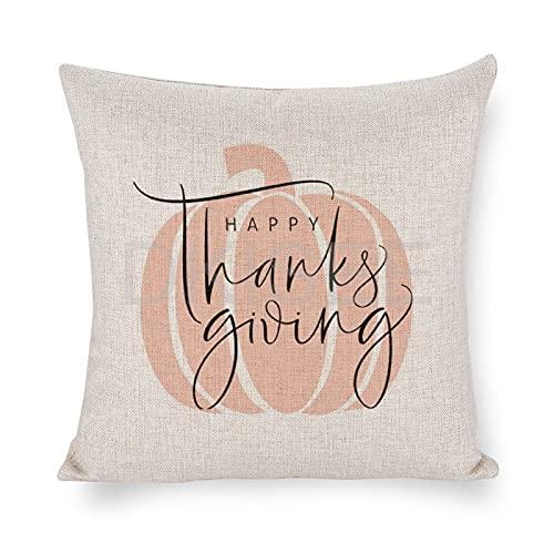 DKISEE Fundas de almohada de decoración de otoño, felices gracias y fundas de almohada de calabaza rosa pastel de 45,7 x 45,7 cm, funda de cojín decorativa para otoño, Halloween, Acción de Gracias