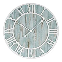 Blue distressed MDF wood Extra large 23.5 inch dial Roman numerals.Clean the battery contacts and also those of the device prior to battery installation Metal hands Accurate quartz movement