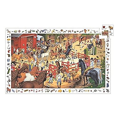 Djeco- Horse Riding P Juego de Rompecabezas con los Caballos en la Granja, Multicolor (DJ07454)