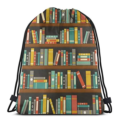 Perfect household goods Cartoon Library Book Shelf Bookworm Drawstring Backpack Sport Bags Cinch Tote Bags For Traveling And Storage For Men And Women 17X14 Inch