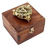 Tempelwelt Reloj Solar Antiguo con Brújula, Cronómetro de Latón, en Caja de Madera, con Instrucciones, Aguja de Brújula Regulable